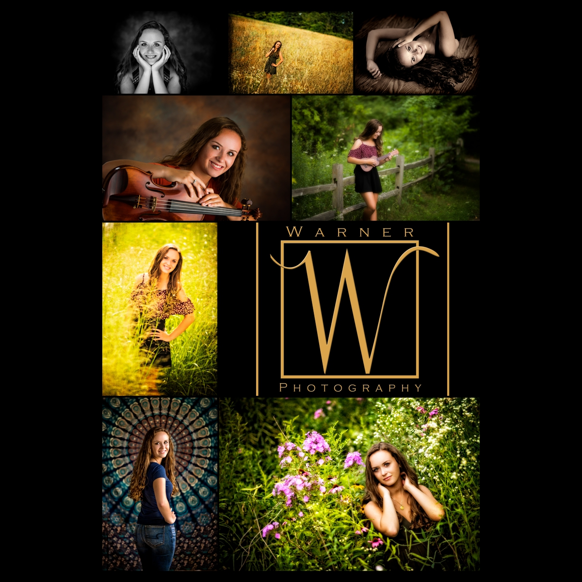 Hannah Senior Photo Collage by Warner Photography in Midland Michigan