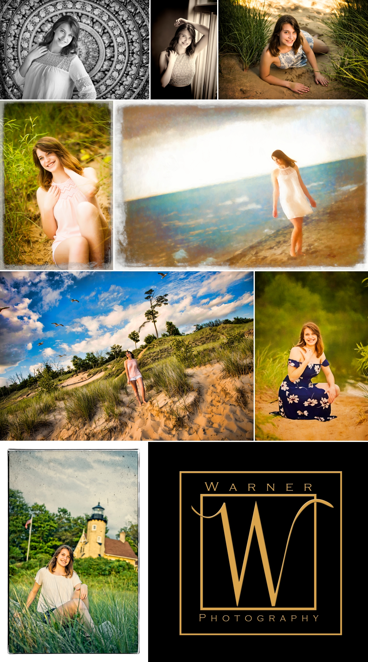 Ali Senior Collage photos by Warner Photography in Midland Michigan