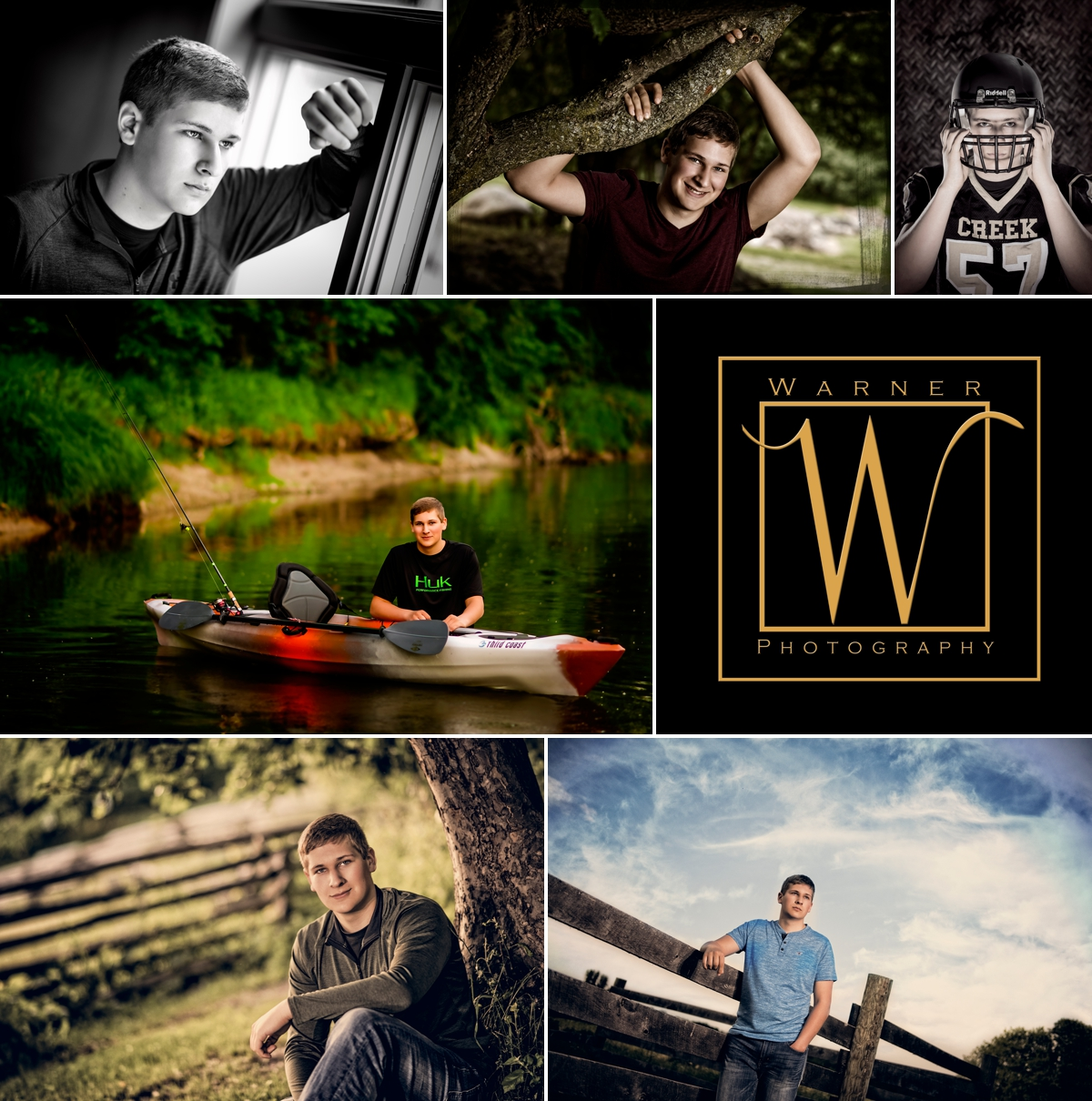 Tanner Senior Collage Photos by Warner Photography in Midland Michigan