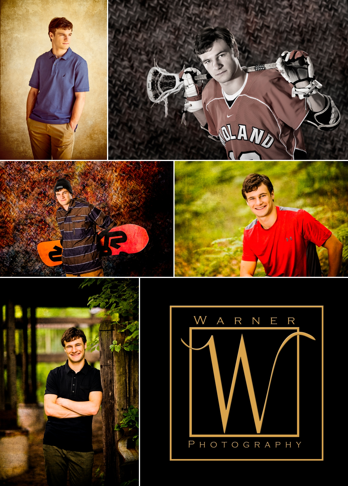 Kyle Senior collage photos by Warner Photography in Midland Michigan
