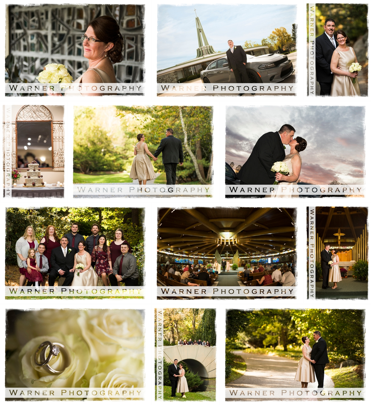 Lovely wedding collage by Warner Photography in Midland Michigan
