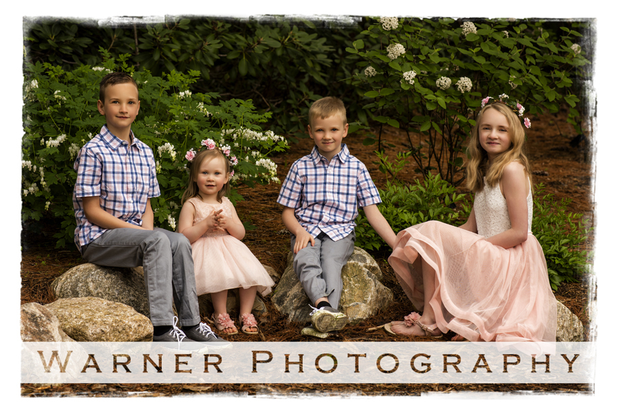 Family portrait of the Eschleman children at Dow Gardens