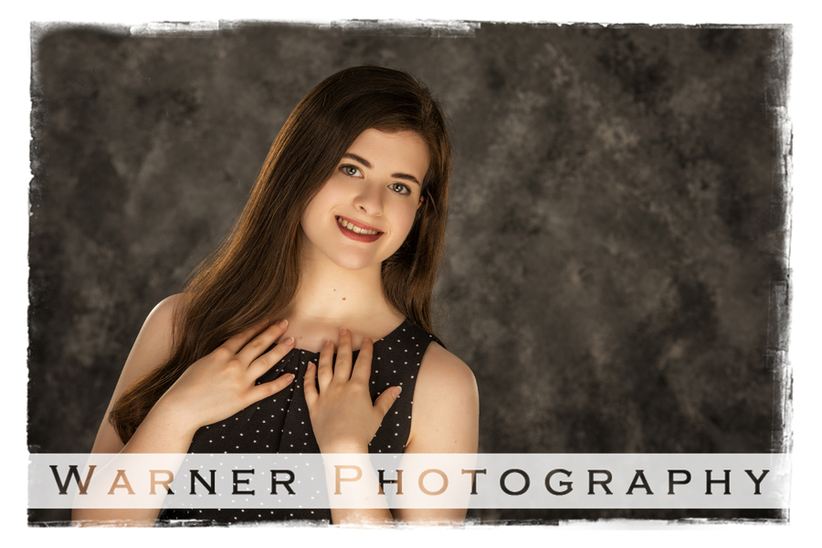 Senior portrait of Madison in the studio at Warner Photography