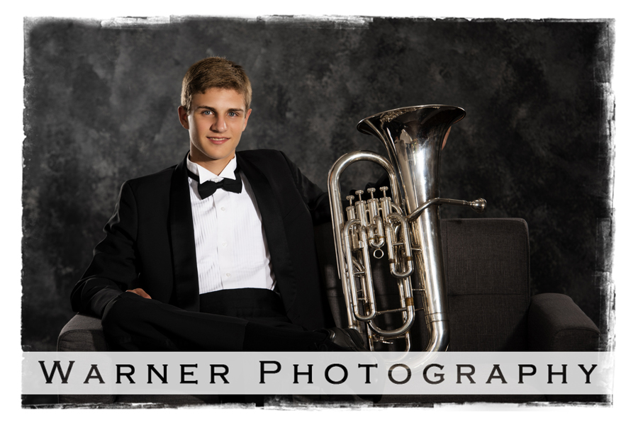 Studio senior portrait session of Jacob a Dow High senior with his trumpet