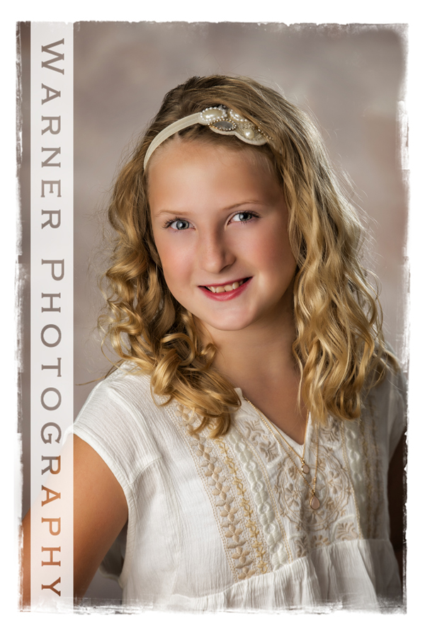 A Back to School portrait of Monica at the Warner Photography studio