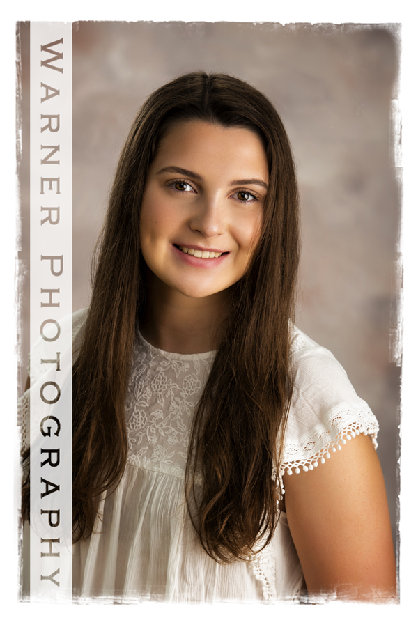 A Back to School studio portrait at the Warner Photography studio