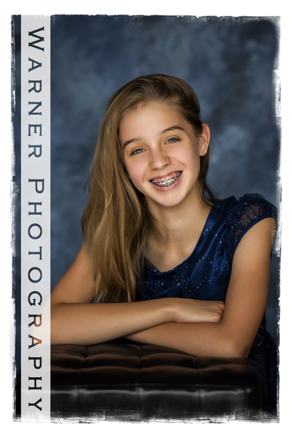 A classic Back to School Portrait of Evelyn at the Warner Photography Studio