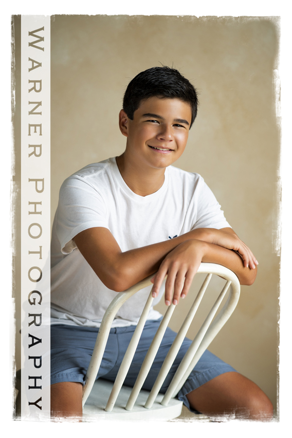 Back to School portrait of Justin at the Warner Photography Studio
