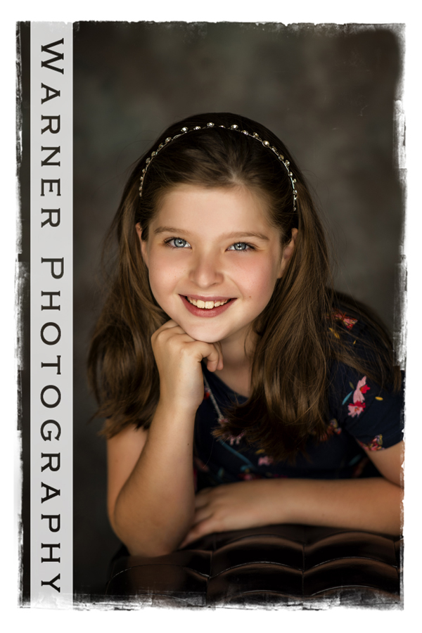 A classic Back to School Portrait of Selene at the Warner Photography Studio