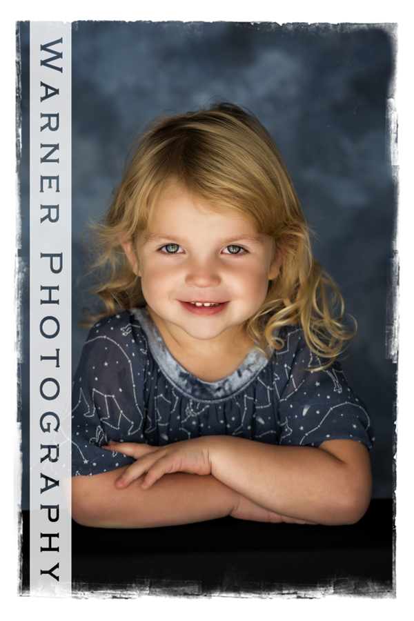 A traditional Back to School Portriat of Abby at the Warner Photography Studio