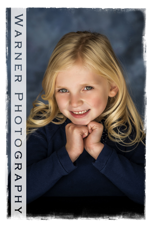 A traditional Back to School Portrait of Claire at the Warner Photography Studio