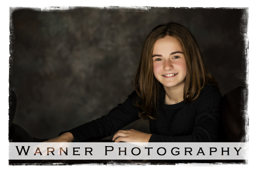 Traditional Back to School portrait of Alayna at the Warner Photography Studio