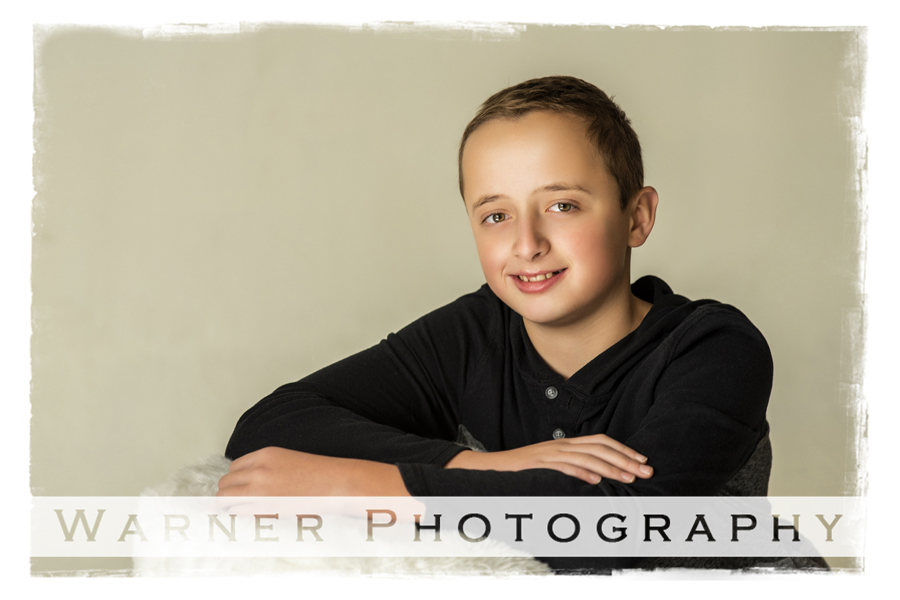 Traditional Back to School Portrait of Andy at the Warner Photography Studio