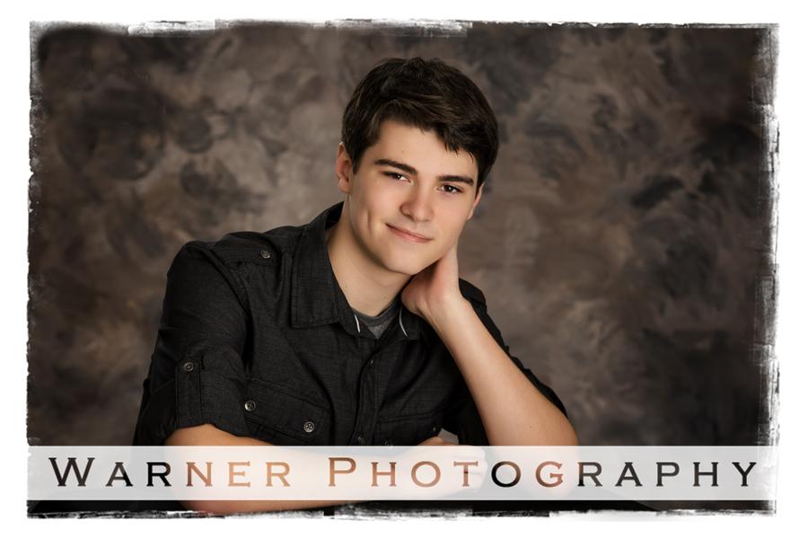 Traditional senior portrait of Midland High School senior Chase at the Warner Photography studio