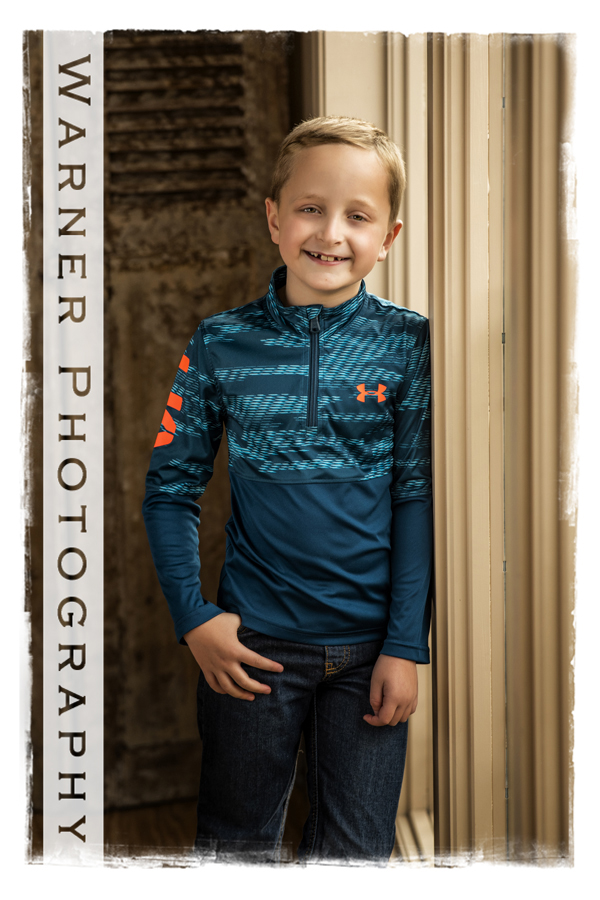 Traditional back to school portrait of Colin at the Warner Photography Studio