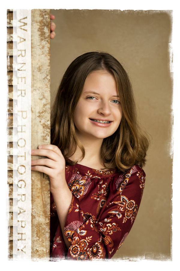 Traditional Back to School portrait of Kate at the Warner Photography Studio