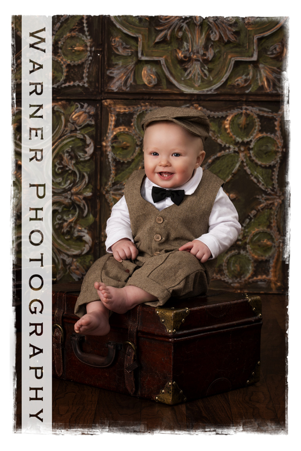 Traditional Year of Memories portrait of 9 month old Amadeaus at the Warner Photography Studio