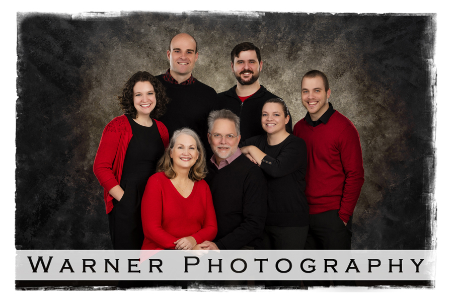 A classic family portrait of the Gartner family at the Warner Photography Studio