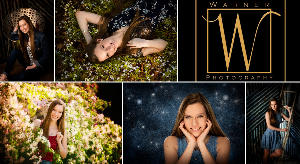 A collage of portraits from Midland High School senior Baley at Dow Gardens and at the Warner Studio