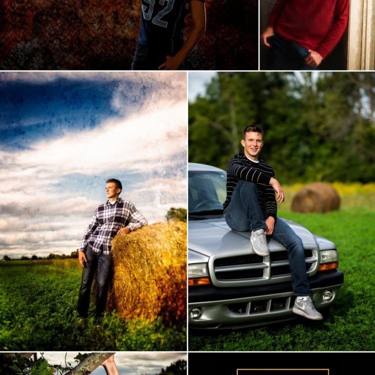 Senior collage of Meridian High School senior Gabe studio farm truck hay indoor outdoor pictures