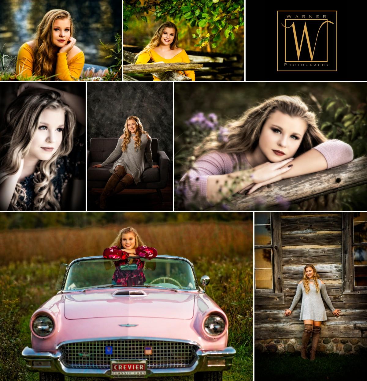 senior portrait collage of Dow High senior Sydney Chippewa Nature Center studio indoor outdoor pink car