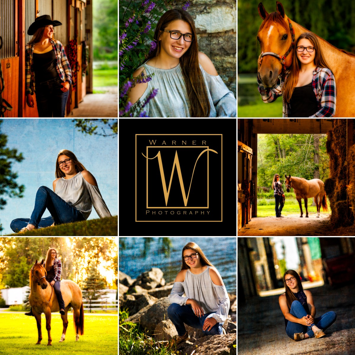 A collage of senior portraits Madison Bay City Western studio horse barn indoor outdoor