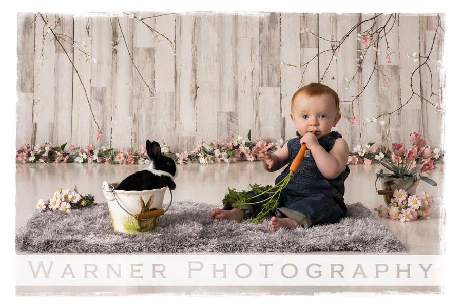 Studio portrait of Hudson with a bunny and carrot for spring easter