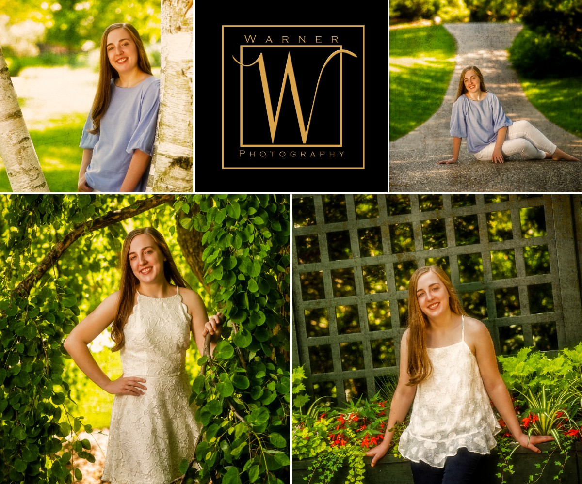 Senior portrait collage of Olivia from Midland High at Dow Gardens with greenery and flowers
