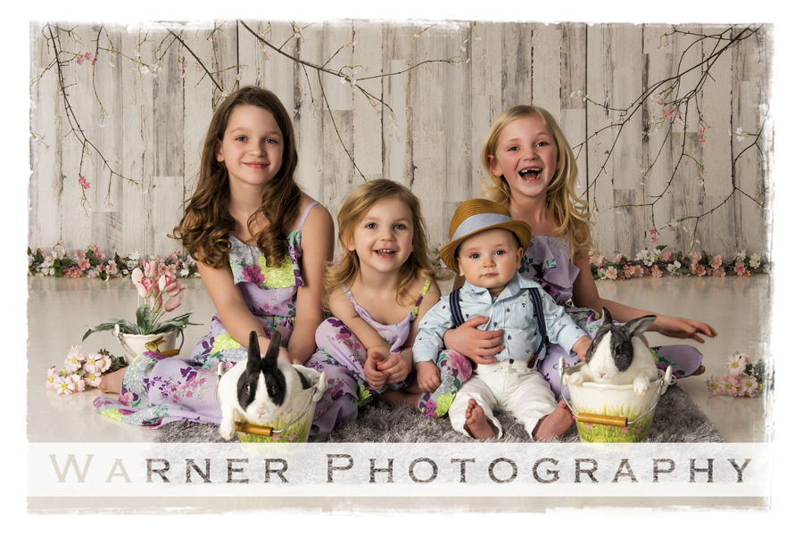 Holiday Easter portrait Grace Claire Abby and Henry spring flowers bunnies bunny