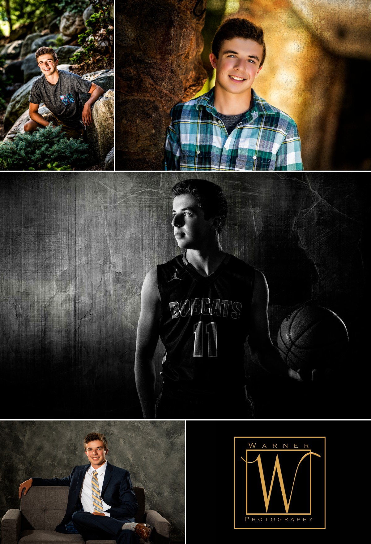 Collage of Houghton Lake senior Joseph at the studio and outdoors at Dow Gardens