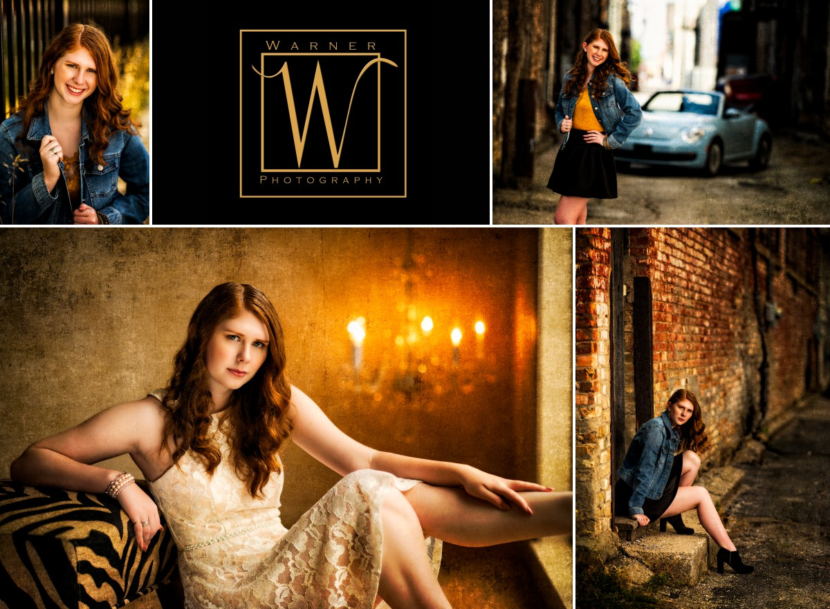 A collage of Paige at the studio and downtown bay city indoor outdoor senior portraits warner photography