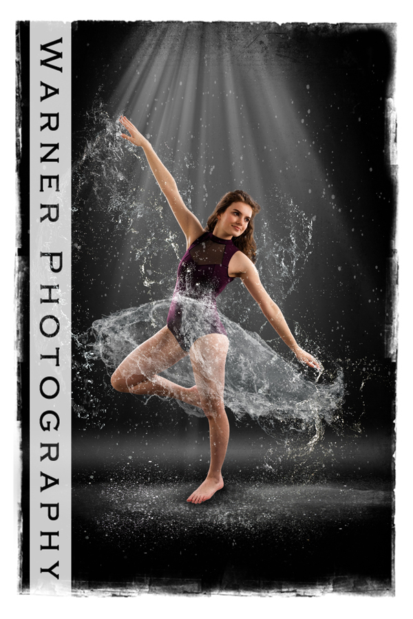 studio dance portrait of Isabel with special effects water skirt