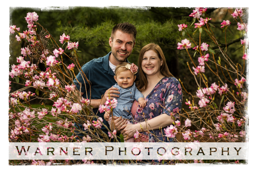 Talsma family outdoor pink flowers mom dad baby dow gardens