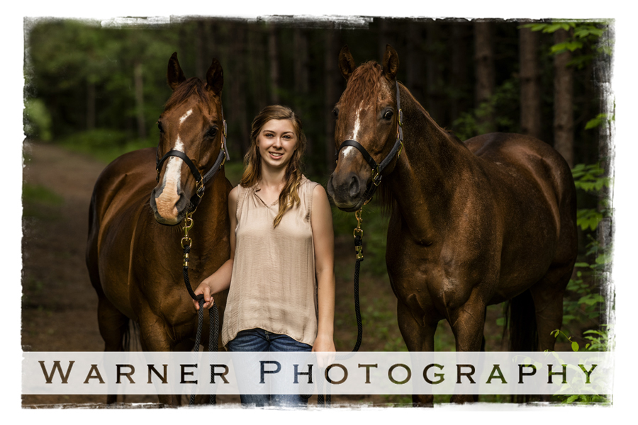 Outdoor senior portrait of Ashley with her horses at Midland City Forest