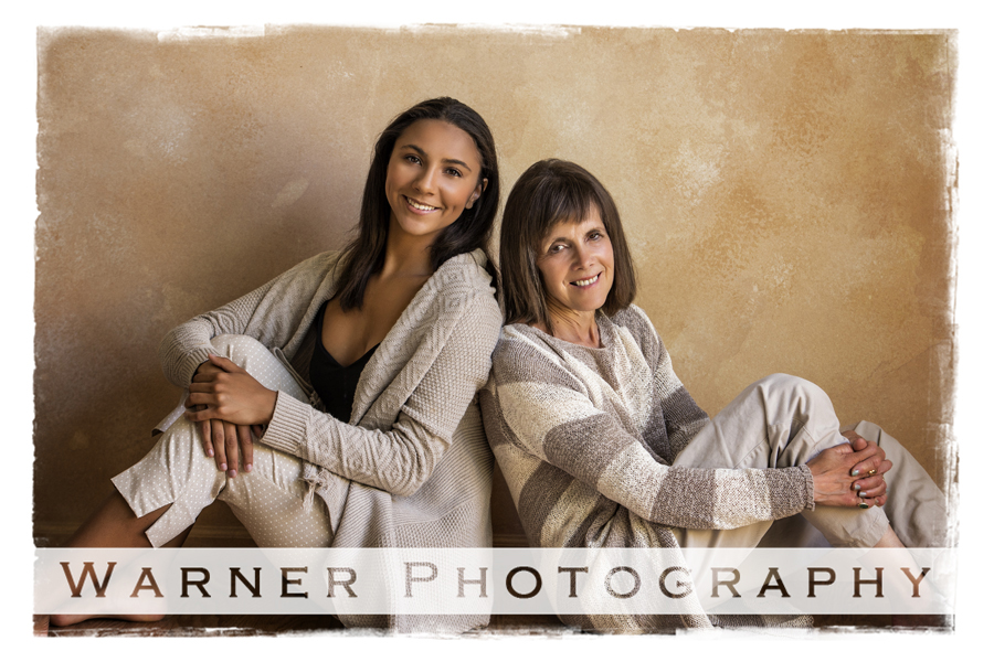 Studio portrait of mother and daughter Mary and Anne