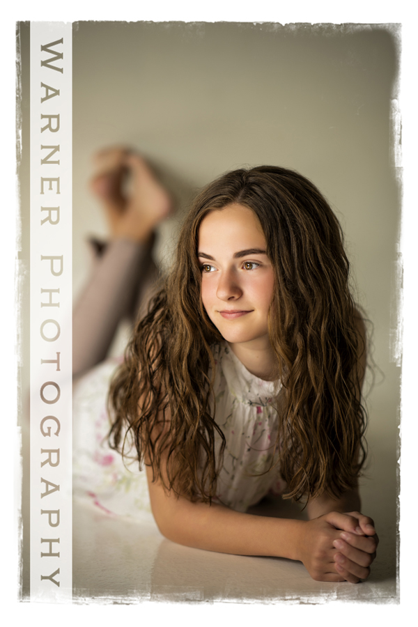 Studio portrait of Alayna for her Back to School session at Warner Photography Studio