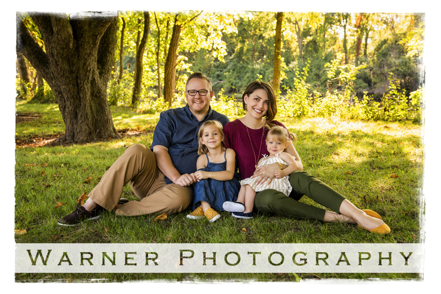 Outdoor family portrait of the Drysdale family at Dow Gardens