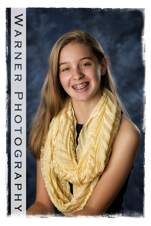 Studio portrait of Evelyn for her Back to School session