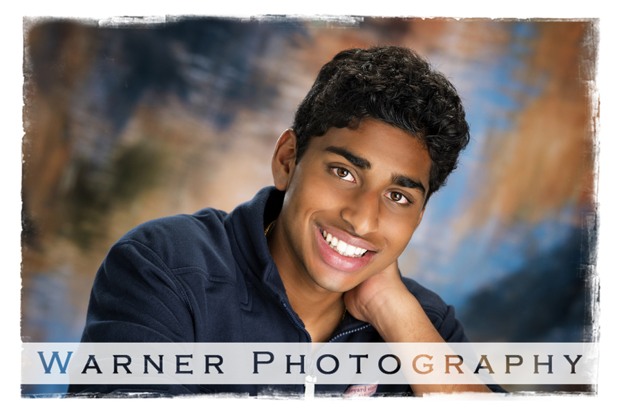 Studio portrait of Dow High School senior Saketh at the Warner Photography Studio