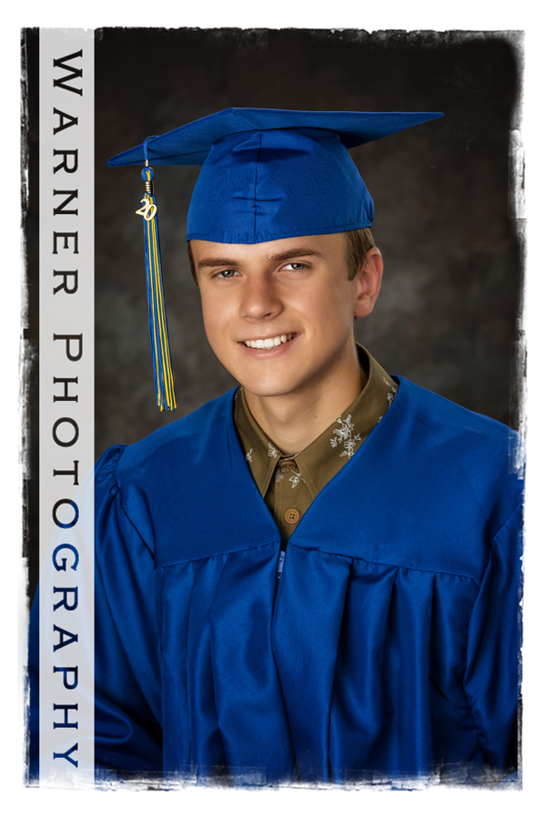 A portrait of Midland High School graduate David in his Cap and Gown