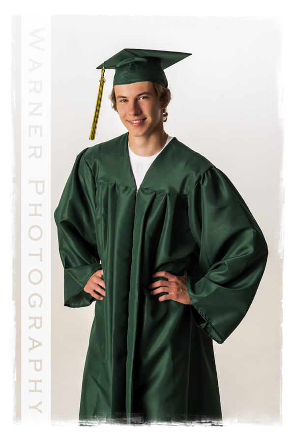Portrait of Dow High School graduate Drew in his Cap and gown