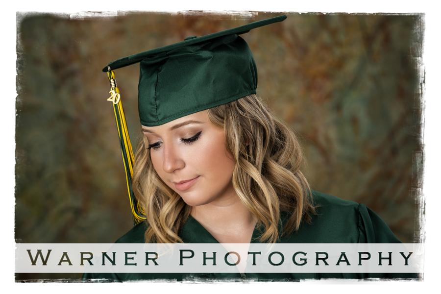Studio portrait of Dow High School graduate Sarah in her cap and gown