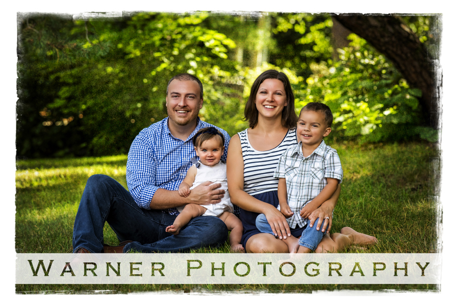 Outdoor family portrait of the Beebe family at Dow Gardens