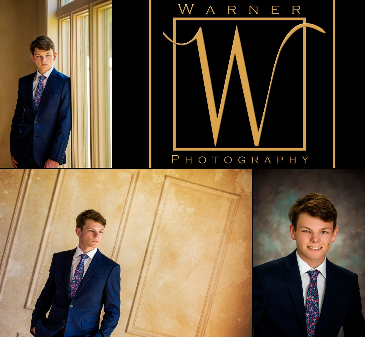 A collage of Dow High School senior Alex at the studio