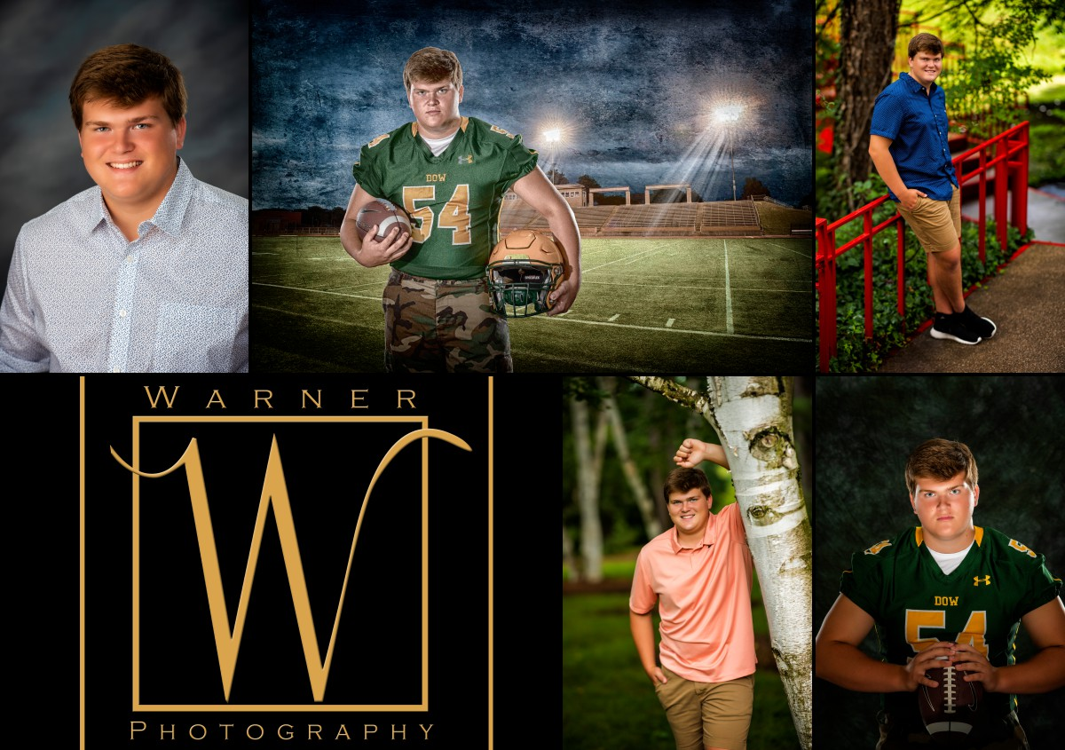 a collage of Dow High School senior Jason at the studio and Dow Gardens