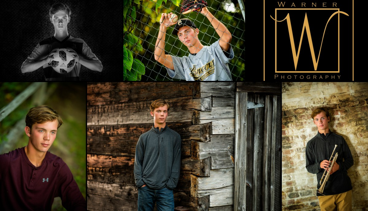 A collage of Bullock Creek High School senior Sam at the studio and Chippewa Nature Center