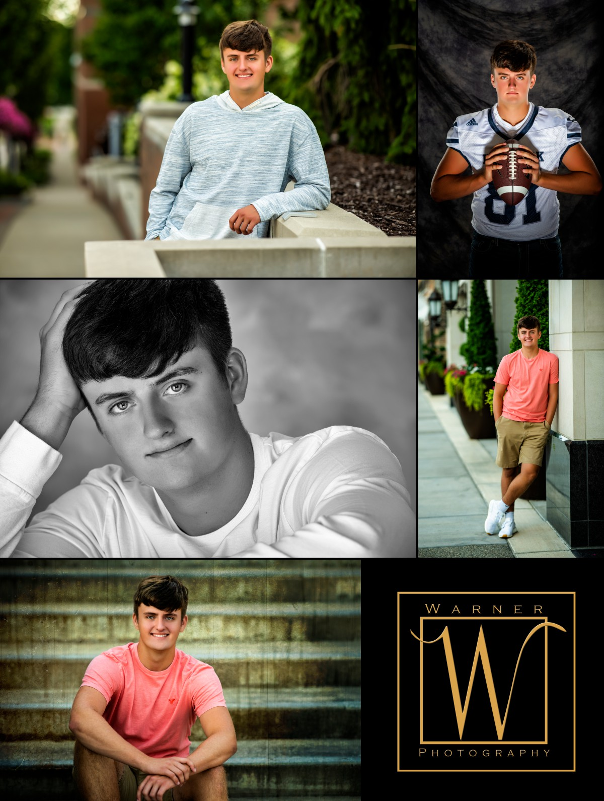 a collage of Hemlock High School senior Carter in downtown Midland