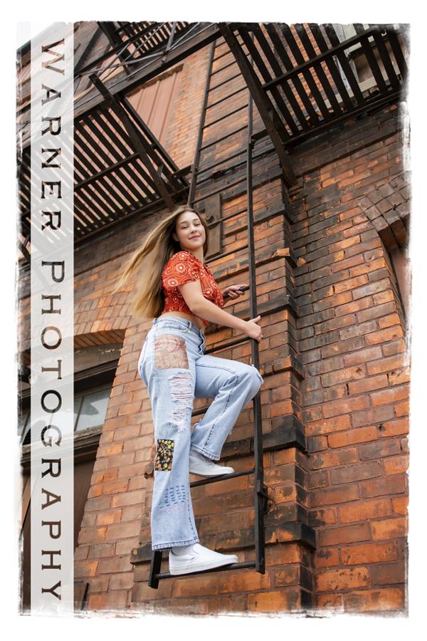 An outdoor portrait of Midland High School senior Alexandra in Downtown Bay City
