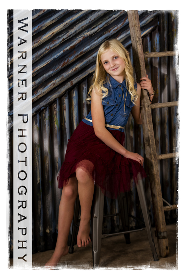 a studio portrait of Claire for her Back to School session