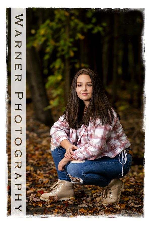 an outdoor portrait of Midland High School senior Zoe at Chippewa Nature Center